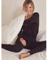 Free People Thermal Pyjamas & Scrunchie Set - Black