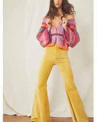 Free People Just Float On Velvet Flare Jeans - Yellow