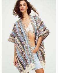 Free People Now & Then Upcycled Patchwork Kimono - Blue