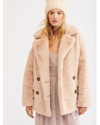 Free People - Kate Faux Fur Coat - Lyst