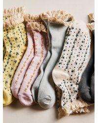 Free People Beloved Waffle Knit Ankle Socks - Blue