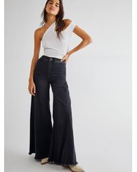 Free People Santa Cruz Wide Leg Jeans - Black