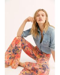 Free People Just Float On Printed Flare Jeans By We The Free - Blue