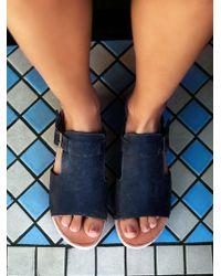 Free People Oasis Wood Slip On Sandal - Black