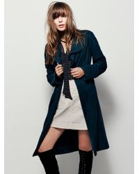 Free People Suede Trench - Blue