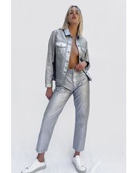 French Connection Tate Metallic Denim Relaxed Straight Jeans