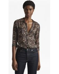 41b2bdd5 French Connection Edna Fil De Coupe Collarless Shirt in Green - Lyst