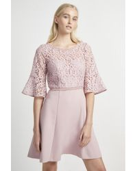 French Connection - Whisper Ruth Lace Mix Dress - Lyst