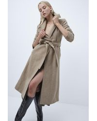 French Connection Balia Tweed Belted Coat - Natural