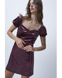 French Connection Yule Velvet Fit And Flare Dress - Purple