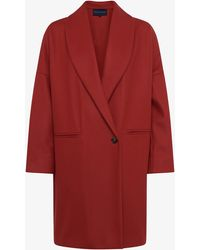 French Connection Ricio Platform Wool Cocoon Coat - Red