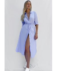 French Connection Rhodes Organic Poplin Drawstring Waist Dress - Blue