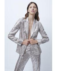 French Connection Alindava Sequin Jacket - Metallic