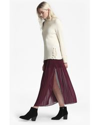 French Connection Cooper Sheer Pleated Maxi Skirt - Purple