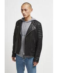 French Connection Bleeker Leather Biker Jacket - Black
