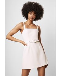 French Connection Whisper Belted Straight Neck Dress - White