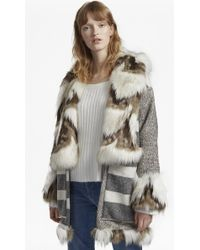 French Connection - Noemi Coating Long Sleeve Fur Trim Coat - Lyst