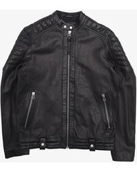 French Connection Leather Racer Jacket - Black