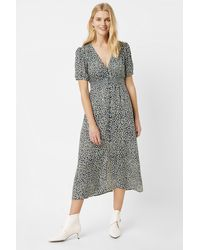 French Connection Cade Drape Buttoned Front Printed Dress - Green
