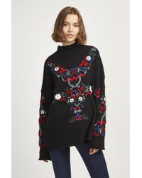 French Connection - Emily Embroidered High Neck Jumper - Lyst