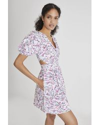 French Connection Flores Cotton Puff Sleeve V Neck Dress - White
