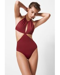 French Connection Cut Out Swimsuit - Red