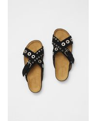 French Connection Suede Eyelet Sandals - Black