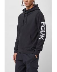 French Connection Fcuk Logo Hoodie - Black