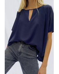 French Connection Alicia Light Short Sleeve Top - Blue