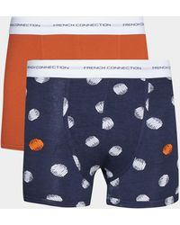 French Connection Eze 2 Pack Boxers - Blue