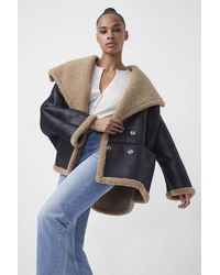 French Connection Edith Faux Shearling Coat - Black