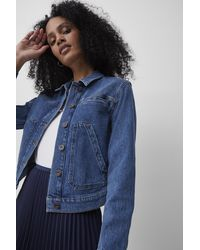 French Connection Robyne Recycled Cropped Denim Jacket - Blue