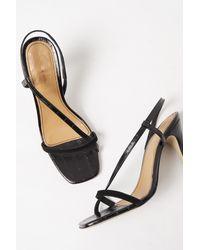 French Connection Viv Croc Wrap Around Sandals - Black