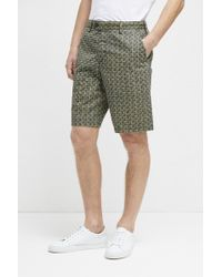 French Connection Kast Tile Twill Shorts - Green