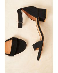 French Connection Karla Suede Block Heel Shoes - Black
