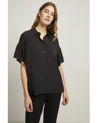 French Connection - Crepe Light Ruffle Sleeve Shirt - Lyst