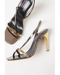 French Connection Veroni Metallic Wrap Sandals