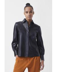 French Connection Crolenda Vegan Leather Shirt - Black