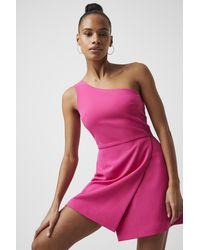 French Connection Whisper One Shoulder Envelope Skirt Dress - Multicolor