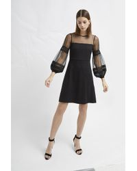 be720952e2f519 French Connection - Paulette Jersey Puff Sleeve Dress - Lyst