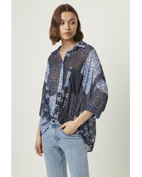 French Connection Patchwork Floral Georgette Twist Front Shirt - Blue