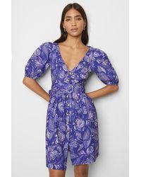 French Connection Besima Poplin Short Sleeve V Neck Dress - Blue