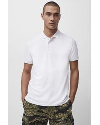 French Connection Seersucker Jersey Shortsleeve Polo - White