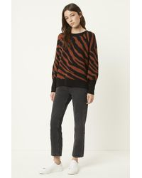 French Connection Tiger Jacquard Crew Neck Sweater - Black