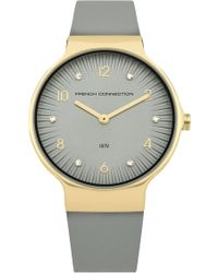 French Connection - Stone Face Leather Strap Watch - Lyst