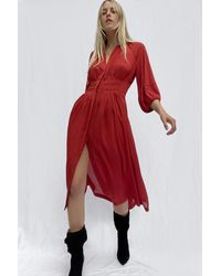 French Connection Cora Pleated Dress - Red