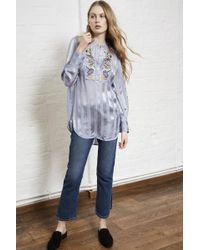 French Connection   Katalina Embroidered Stripe Top   Lyst