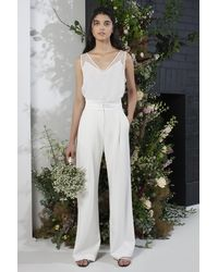 French Connection Amato Bridal Tux Wedding Suit Trousers - White