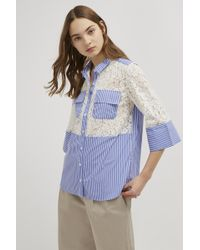 French Connection Adena Lace Mix Shirt - Blue