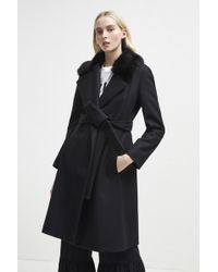 French Connection - Platform Felt Fur Trim Coat - Lyst